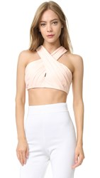 Cushnie Et Ochs Front Cross Crop Top Blush