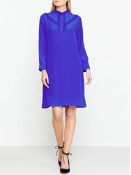 Paul Smith Ps By Silk Frill Front Dress Blue