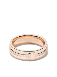 Tiffany And Co. Co 18Kt Rose Gold T Two Diamond Narrow Ring Metallic