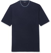 Dunhill Slim Fit Silk Trimmed Knitted Cotton T Shirt Navy