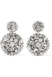 Oscar De La Renta Swarovski Crystal Clip Earrings Silver Gbp