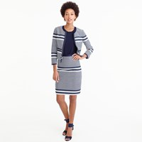 J.Crew A Line Skirt In Striped Navy Tweed