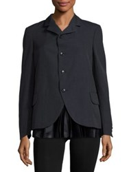 Comme Comme Satin Plisse Hem Wool Jacket Navy Black