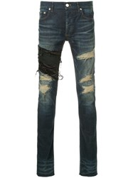 Fagassent Ripped Skinny Jeans Cotton Polyurethane Blue