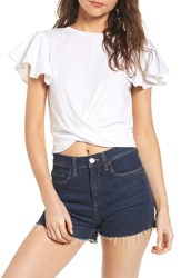 Bp. Ruffle Sleeve Twist Hem Tee White