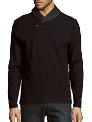 Calvin Klein Shawl Collar Button Sweater Black