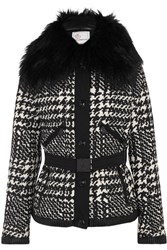 Moncler Grenoble Mongie Shearling Trimmed Jacquard Down Ski Jacket Black