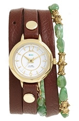 La Mer 'Martine Ilana Jaipur' Leather And Stone Wrap Watch 19Mm Brown