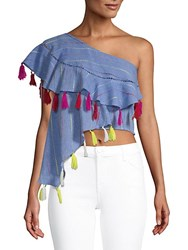 Red Carter Bijou One Shoulder Top Chambray Multi