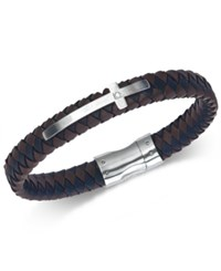 Esquire Men's Jewelry Diamond Accent Leather Cross Bracelet In Stainless Steel First At Macy's Black