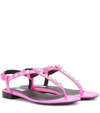Balenciaga Giant Studded Leather Sandals Pink