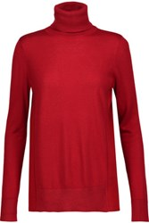 Magaschoni Paneled Silk And Cashmere Blend Turtleneck Sweater Red
