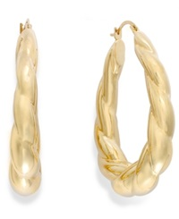Signature Gold Ribbed Oval Hoop Earrings In 14K Gold Yellow Gold