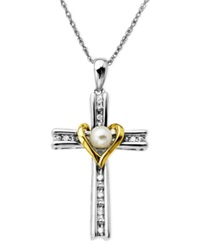 Macy's 14K Gold And Sterling Silver Necklace Cultured Freshwater Pearl And Diamond Accent Cross Pendant