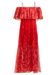 Three Graces London Diana Leaf Print Off The Shoulder Silk Dress Red Multi