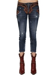 Dsquared Cool Girl Leather And Denim Jeans