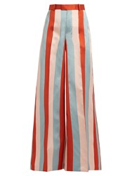 Red Valentino Striped Wide Leg Satin Gabardine Trousers Pink Multi