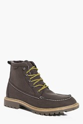 Boohoo Hiking Boots With Borg Lining Brown
