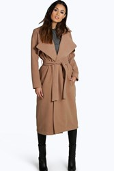 Boohoo Longline Belted Wool Look Trench Camel