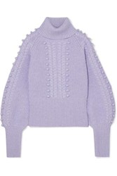 Temperley London Chrissie Cable Knit Merino Wool Turtleneck Sweater Lilac