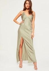 Missguided Green Silky Plunge Maxi Dress