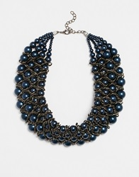 Paper Dolls Paperdolls Faux Pearl And Chain Statement Collar Gunmetal