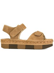 Paloma Barcelo Velcro Strap Sandals Brown