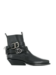 Ann Demeulemeester Buckle Strap Ankle Boots Black