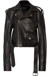 Y Project Cutout Leather Biker Jacket Black