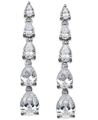 Arabella Swarovski Zirconia Graduated Linear Earrings In Sterling Silver 8 Ct. T.W.