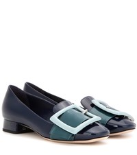 Miu Miu Buckled Patent Leather Pumps Blue