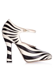 Gucci Lesley Zebra Applique Leather Pumps Black White