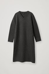 Cos Boiled Wool Seamless Dress Grey