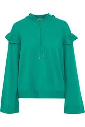 Joie Pammeli Ruffle Trimmed Wool And Cashmere Blend Hoodie Green