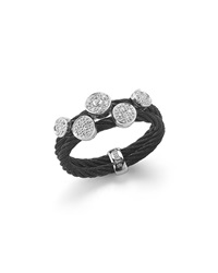 Alor Black Stainless Steel Cable And Diamond Ring