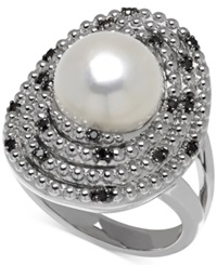 Macy's Freshwater Pearl 10Mm And Colored Diamond 1 7 Ct. T.W. Ring In Sterling Silver