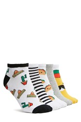 Forever 21 Taco Ankle Socks 5 Pack White Multi