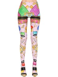 Versace Printed Stretch Jersey Leggings W Feet Multicolor