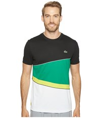 Lacoste T2 Geometric Stripe Ultra Dry Tee Black Woodland Green Lemon Tree White Men's T Shirt Multi