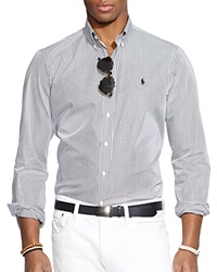 Ralph Lauren Hairline Striped Poplin Button Down Shirt Classic Fit Black White