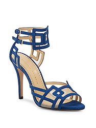 Charlotte Olympia Between The Lines Suede Sandals Cobalt Blue