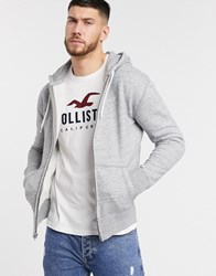 Hollister Logo Zip Through Hoodie In Grey Slub