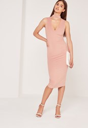 Missguided Choker Neck Faux Suede Midi Dress Pink Red