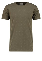 Redefined Rebel Brick Print Tshirt Dark Olive Green