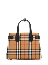 Burberry Small Banner Vintage Check Canvas Bag Black