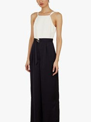 Ted Baker Arala Wide Leg Jumpsuit Navy White