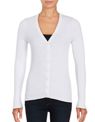 Lord And Taylor Petite Ribbed V Neck Cardigan