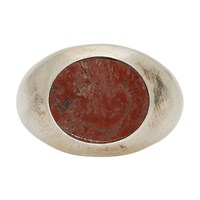 Jil Sander Silver And Red Stone Chevalier Ring