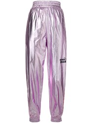 Msgm X Diadora Metallic Track Trousers Pink And Purple