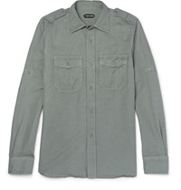 Tom Ford Slim Fit Linen And Cotton Blend Shirt Army Green